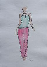 ORIGINAL MODEZEICHNUNG Modeskizze Damen fashion sketches 10-582