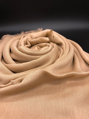 Premium Quality Crêpe Cotton Nude Plain Scarf Hijab Sarong Large Frayed Edge