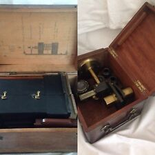 Rare Antique Victorian Brass microscope & Camera Microphotography slide Box etc