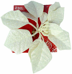 20cm-Cream-Glittery-Poinsettia-Clip-Christmas-Flower-Decoration-PM330