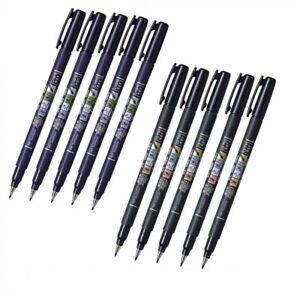 5+5 SET Tombow GCD-111 & GCD-112 Fude Brush Felt Tip Pen Fudenosuke Soft & Hard