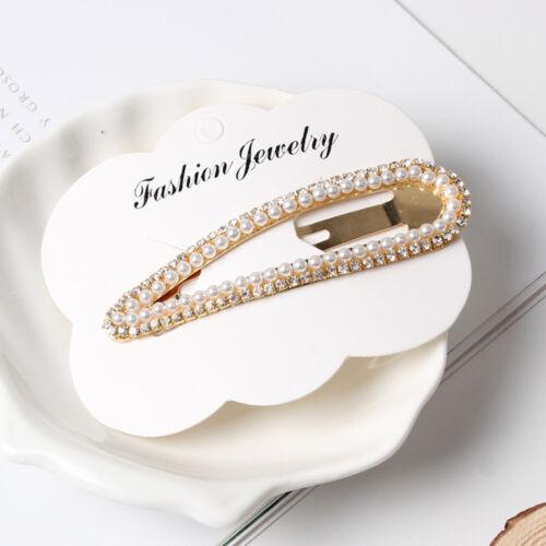Fashion femmes perle strass épingle à Cheveux Côté Pince à Cheveux Snap Hair Accessories