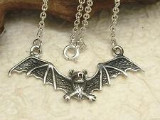 Schöne Fledermaus Halskette 925 Sterling Silber 45 cm Anhänger Kette Gothic