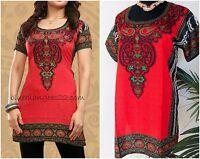 Indian Designer Red Crepe Bollywood Kurti Ethnic Top Kurtis-tunics For Women
