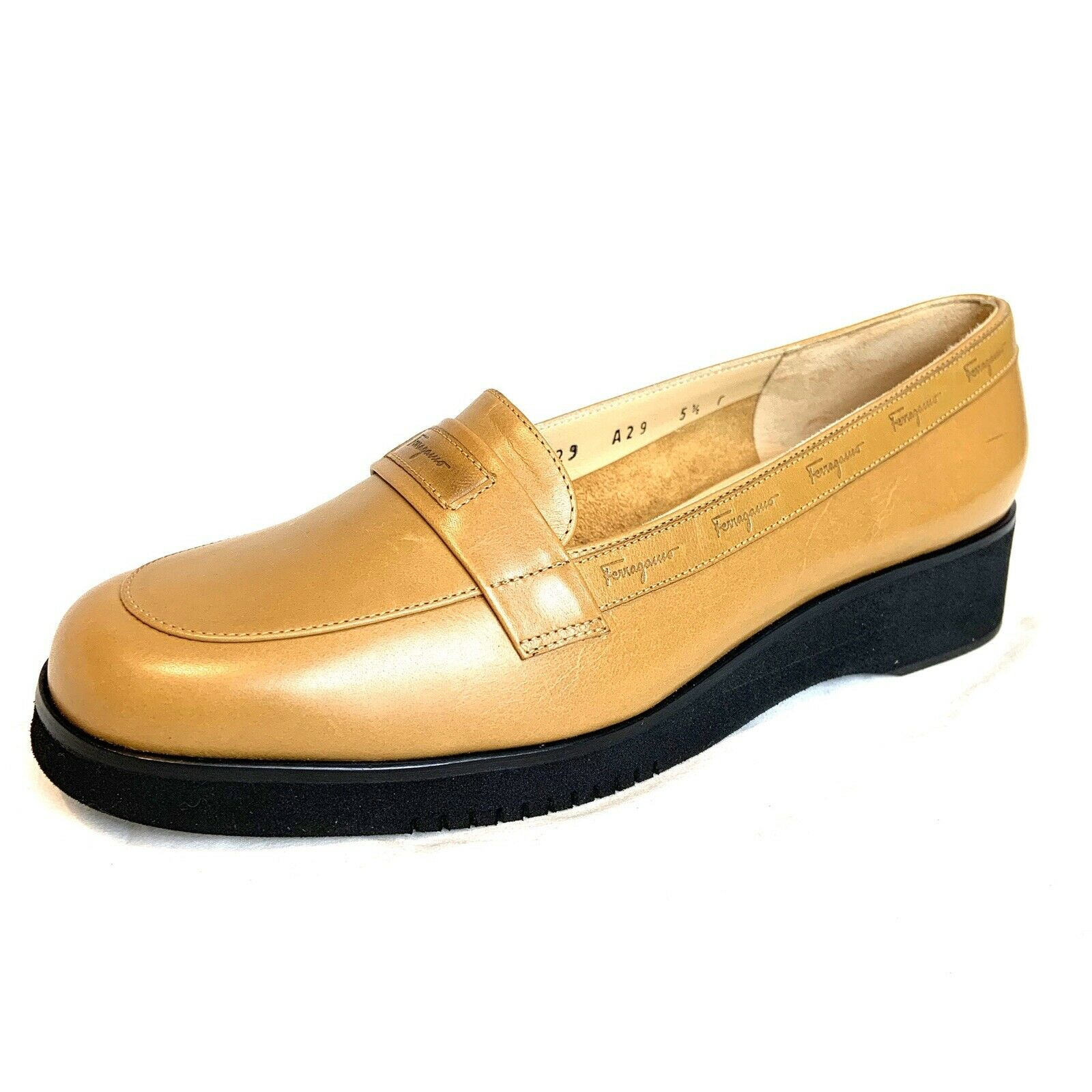 Salvatore Ferragamo Camel Moccasin Loafers Wedge  US 5.5 - EU 36 - UK 3.5