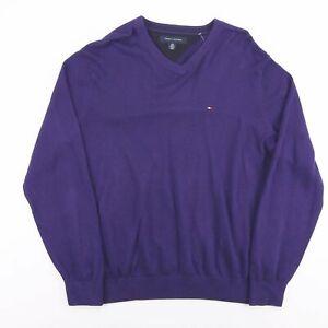 Tommy Hilfiger Lila V-Ausschnitt Crest Logo Casual Pulli Pullover Größe Herren Große
