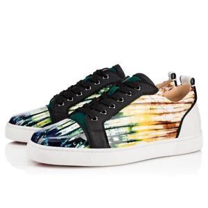 super popular b34ba 21457 Details about NIB Christian Louboutin Louis Junior Orlato Flat Mens Azzurro  Low Top Sneaker 39