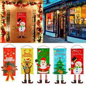 Merry-Christmas-Ornament-Santa-Claus-Banner-Flag-Door-Window-Hanging-Xmas-Decor