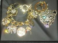 Figaro Couture Tiger Key Chain And Clock Charm Bracelet Charms In Gift Box