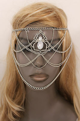 Women Head Metal Chain Fashion Jewelry Silver Spider Web Halloween Mask Costume