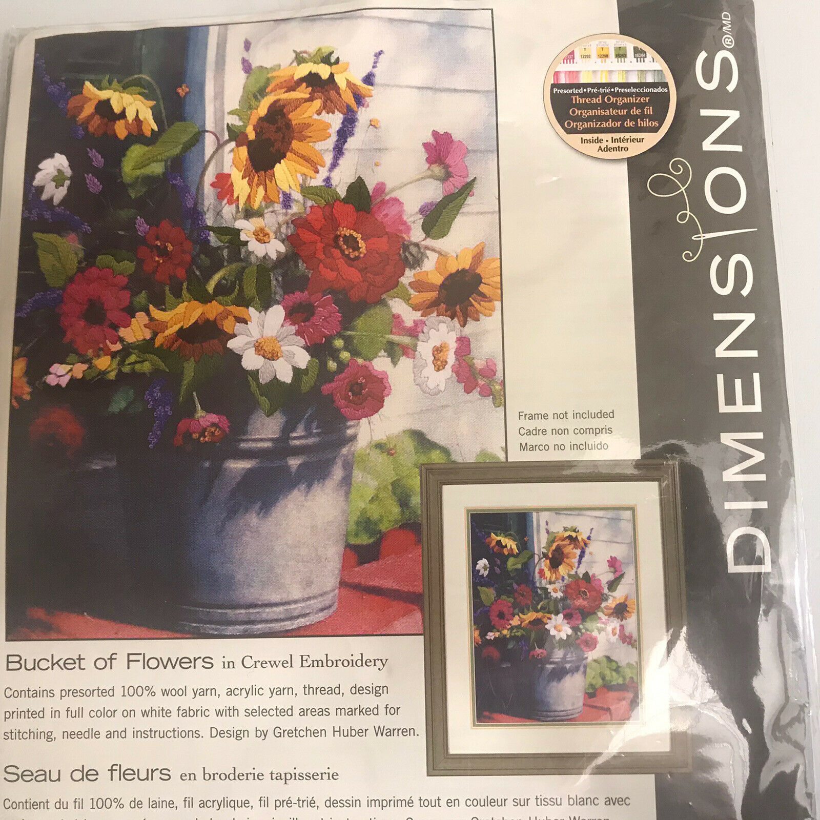 Dimensions Crewel Embroidery Kit Bucket of Flowers 1534 on Printed Fabric
