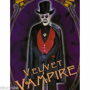 Elegant-Count-Dracula-Vampire-Men-039-s-Halloween-fancy-Dress-Costume-Set-with-HAT