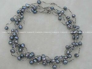 5strands-freshwater-pearl-black-baroque-necklace-16-5-wholesale-nature-amazing