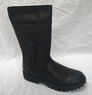 BNIB Clarks Rhea Wish GTX Girls Black Leather Gore-Tex Boots F//G//H Fitting