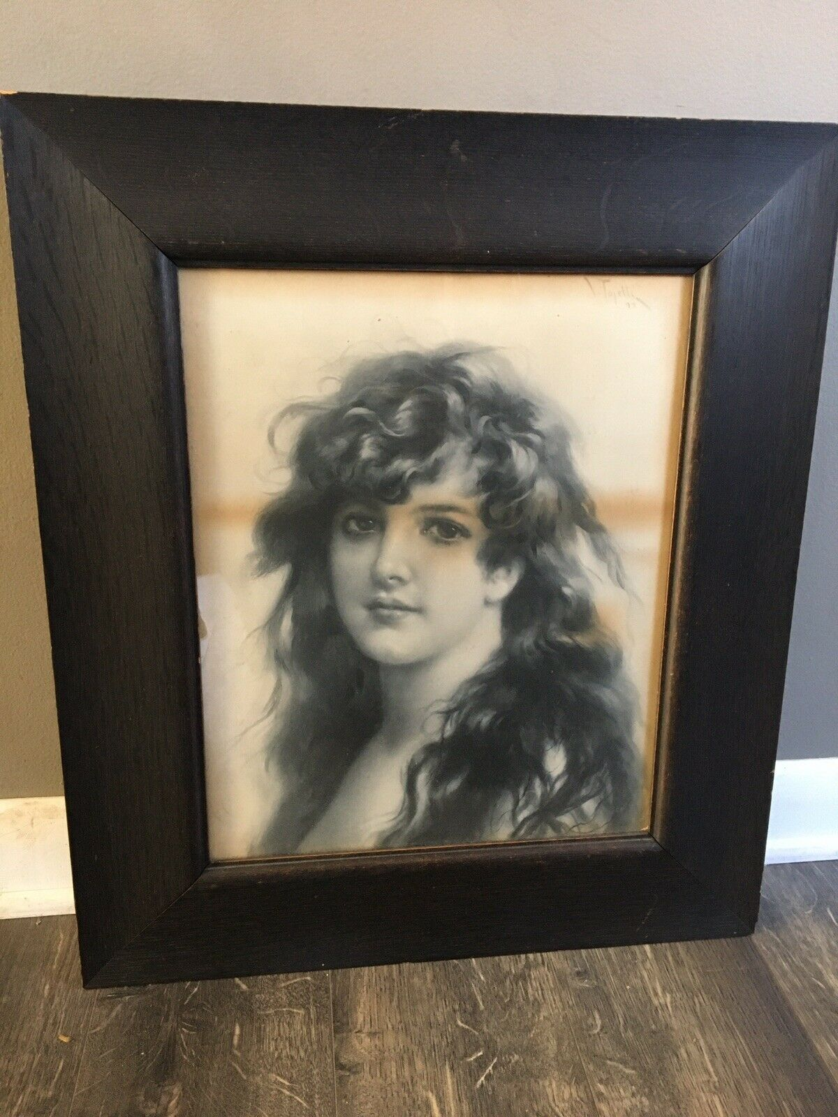 Antique 1899 Framed Brown Haired Beauty Portrait By Virgilio Tojetti Victorian on eBay thumbnail