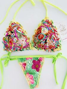 NEW Floral Colombian Swimwear Beaded Bikini Set