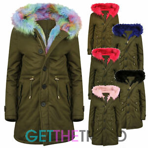 Rainbow Khaki Jacket Pink Fishtail Trim Long Fur Ladies Womens Parka Pw8n0Ok