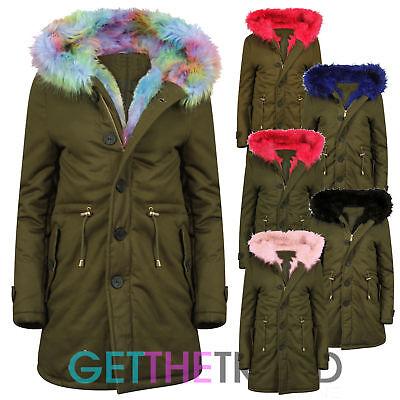 Womens Khaki Parka Jacket Ladies Pink Rainbow Fur Trim Fishtail Long Hooded Coat