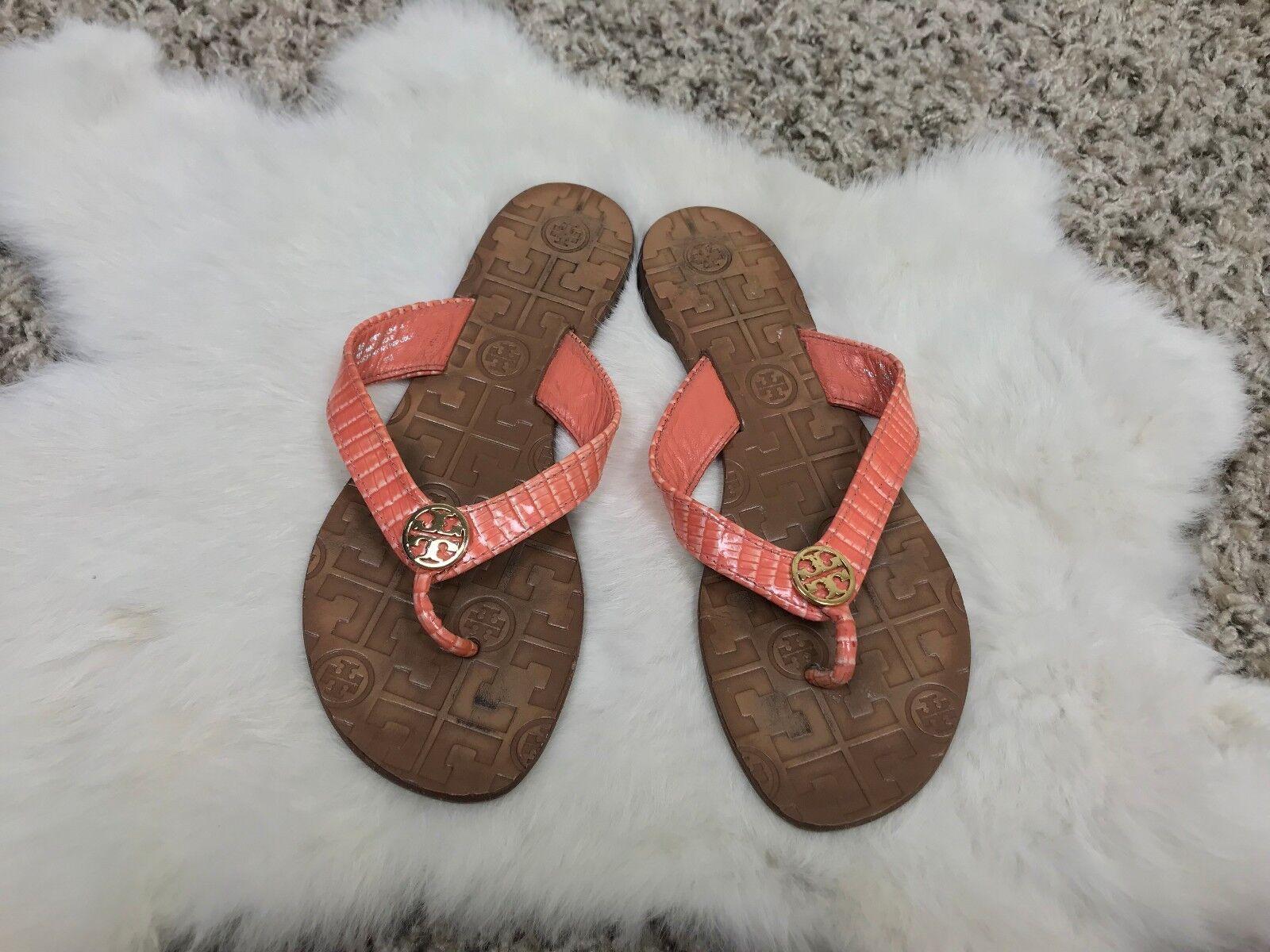 Tory Burch Femme Sandales chaussures Plat Peau de Serpent Orange Cuir Marron Sz