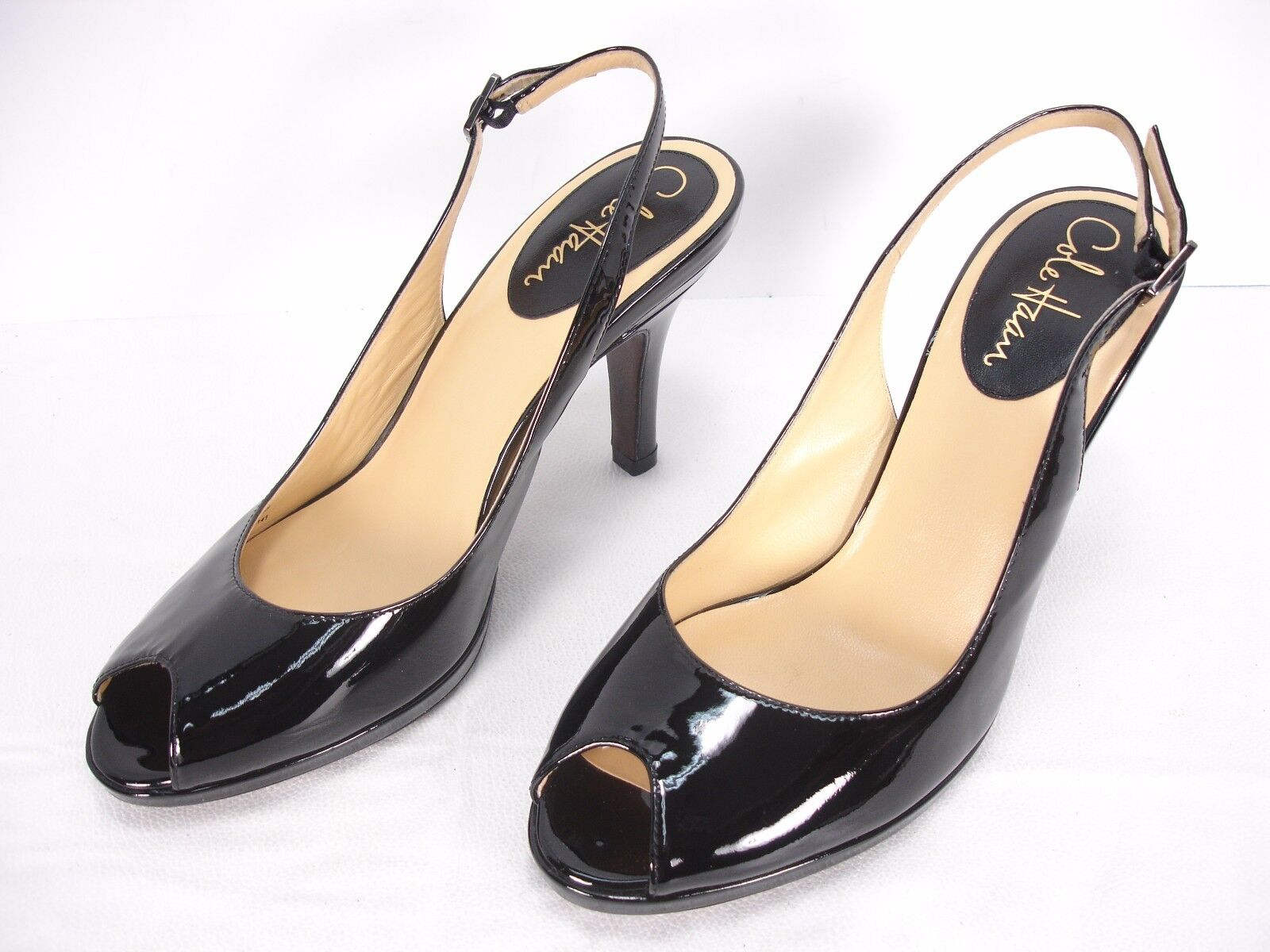 COLE HAAN AIR PATENT LEATHER PEEP TOE SLINGBACKS Schuhe WOMEN'S 8 B MINT