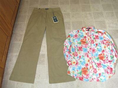 New Nwt Bitten Misses Sz 8 Khakis Dress Pants & Pretty Chaps Top L Lot J96 Relieving Rheumatism And Cold Women's Clothing