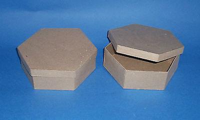 Set of 2 New Hexagonal shape Paper mache box gift storage  craft