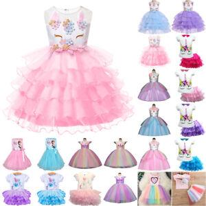 Summer-Girls-Baby-Kids-Princess-Tutu-Dress-Fashion-Wedding-Party-Dresses-New-AU