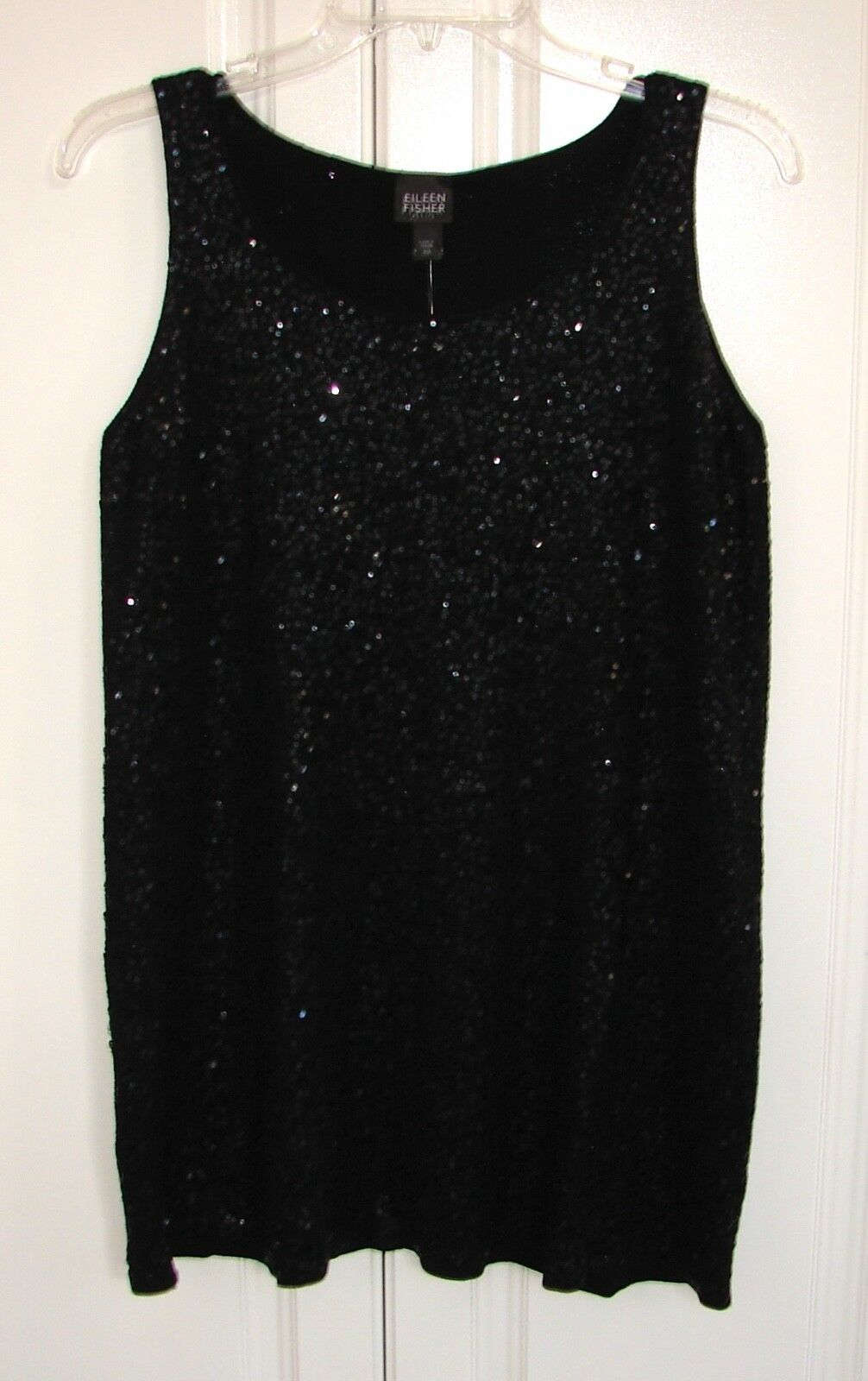 NWT Eileen Fisher sz Petite Medium schwarz sequined sleeveless tunic top
