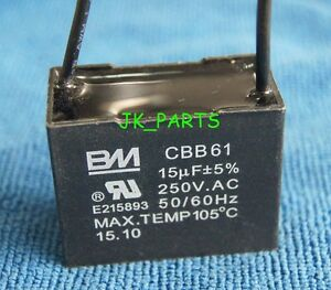 s l300 new bm cbb61 15uf 2 wire 250vac ceiling fan capacitor ul certified