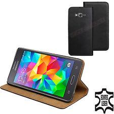 ECHT LEDER Buch Klapp Tasche Schutz Hülle SM-J500F/DS für Samsung Galaxy J5 DuoS