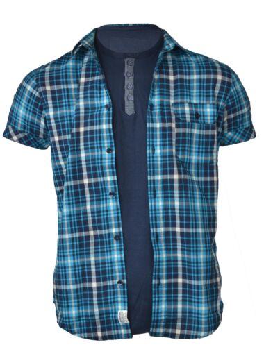 Set Da Uomo T-Shirt /& Camicia vecchia a Maniche Corte Check cotone casual estivi