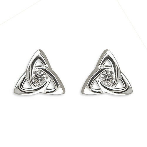 SOLID 925 HALLMARKED STERLING SILVER TRIQUETRA CELTIC KNOT STUD EARRINGS