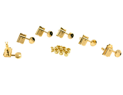 KLUSON TRADITIONAL 6 INLINE TUNERS KD-6B-GM WITH OVAL METAL BUTTONS GOLD