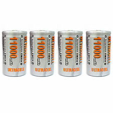 4 pcs D Size 11000mAh 1.2V Ni-MH Rechargeable Battery Cell Ultracell USA Stock
