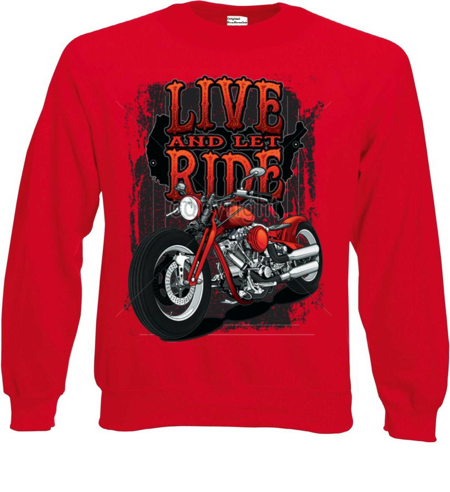 Sweatshirt red Biker Chopper HD Chopper&V Twin Motiv Modell Live And Let Ride