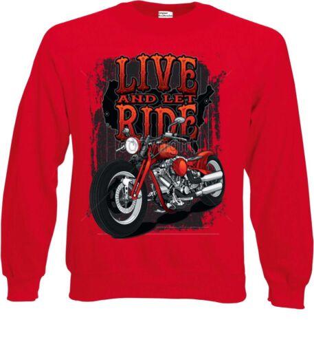 Sweatshirt rot Biker Chopper HD Chopper/&V Twin Motiv Modell Live And Let Ride