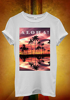 Aloha Sunset Hawaii Palm Trees Relax Men Women Unisex T Shirt Tank Top Vest 369
