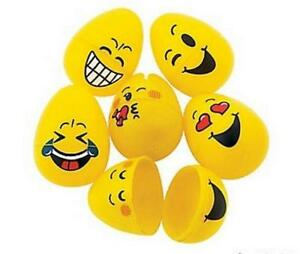 Details about 6 x EMOJI SMILE FACE YELLOW EASTER EGGS - EGG HUNT KIDS  NOVELTY TOY BOX GIFT
