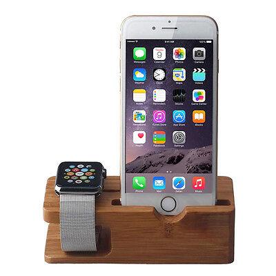 Bambus Ladestation Holz Docking Ständer Halter Plattform Für Apple Watch&iPhone