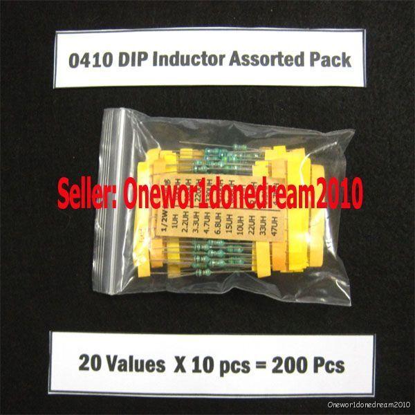 Lot of 200 Pcs 0410 1/2W DIP Inductors Assortment Kit 20 Values Assorted Pack