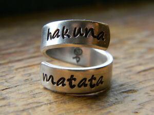 Hakuna Matata Swahili Symbol Inside Aluminum Twist Ring The Original