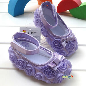 Hot-Pink-Purple-toddler-baby-girl-shoes-Rose-flower-3-24-Mts-Size-US-2-3-4