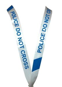"LANYARD White Blue 19"" Long 2cm Width Fun Police Line Do Not Cross Text"