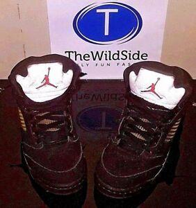 best service c3295 dd812 Image is loading Nike-Air-Jordan-5-V-Retro-Black-Metallic-