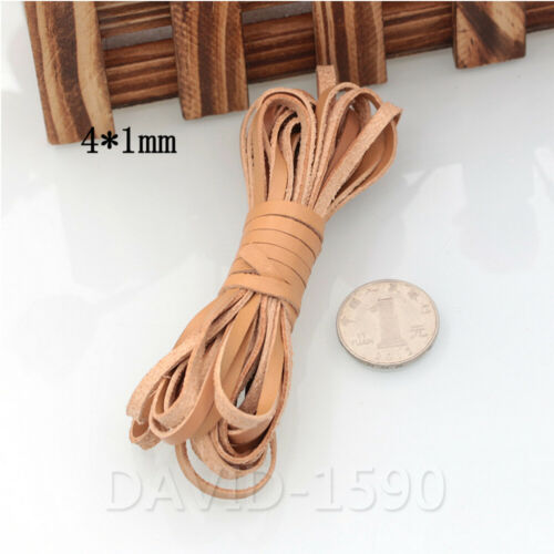 2mm-10mm Width Flat Cow Real Leather Finding Cord String Lace Rope 1mm Thick