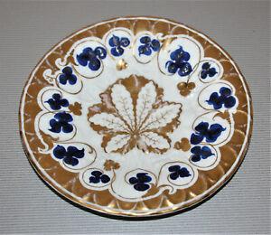 KPM-Plat-de-Ceremonie-DM-22-2-CM-Bleu-Feuilles-Erhabenes-Motif-Decore-Or
