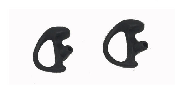 Left and Right Small  Police Ear Mold Piece Covert Radio Black Flexible gel