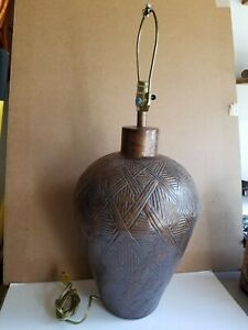 Vtg-Large-Copper-Wash-Glazed-Hand-Incised-Pottery-Lamp