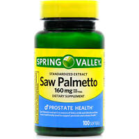Expiration 7/17 Spring Valley Saw Palmetto Herbal Supplement 160 Mg 100 Softgels