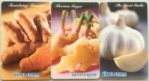 Malaysia-Used-Phone-Cards-3-pcs-Garlic-Ginger-amp-Turmeric